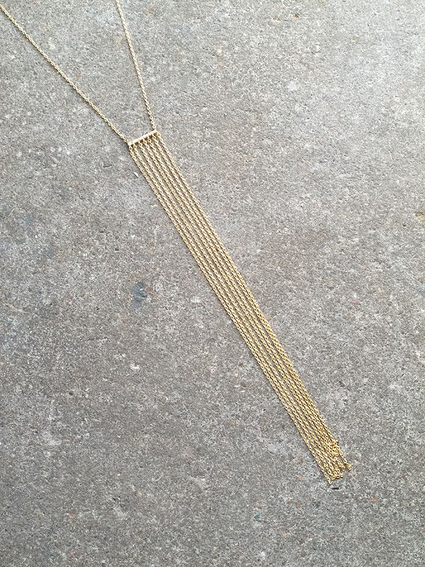 Sterling Gold plated sterling fringe necklace