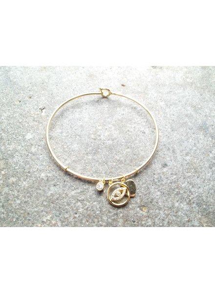 Sterling Gold plated sterling evil eye bracelet