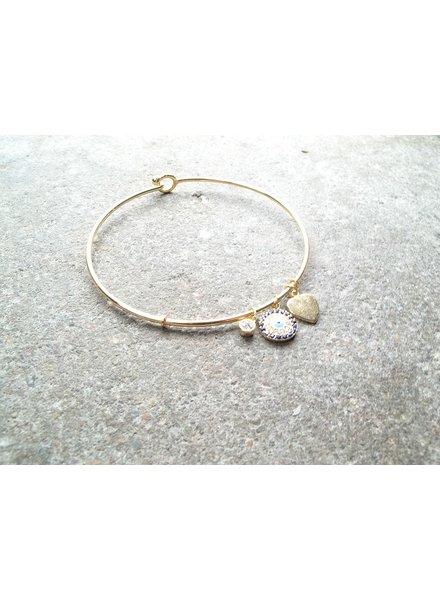 Sterling Gold sterling blue evil eye bracelet