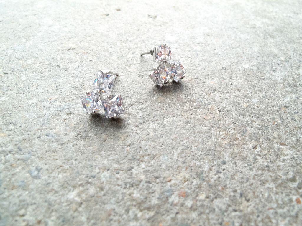 Silver Rhinestone cluster studs