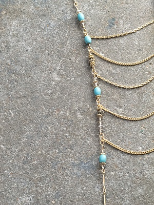 Gold Gold beaded ladder necklace