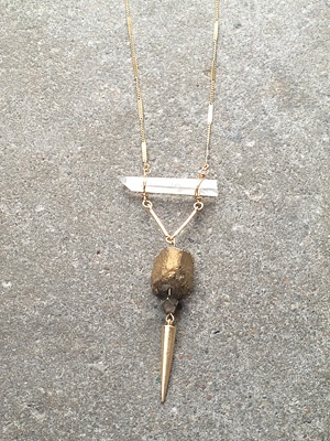 Gold Long gold rock necklace