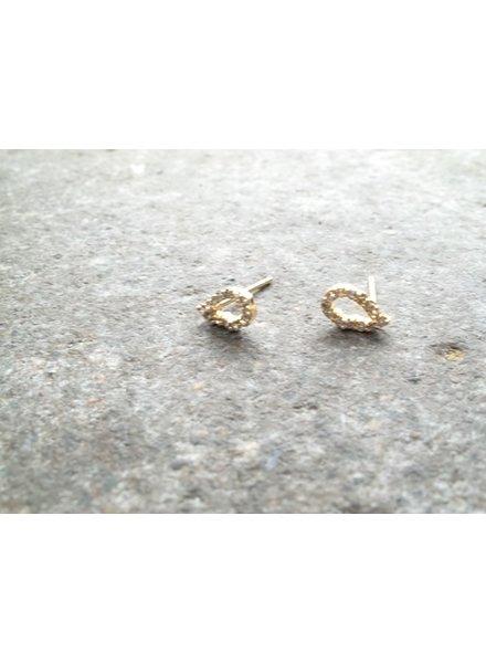 Stud Small gold rhinestone oval