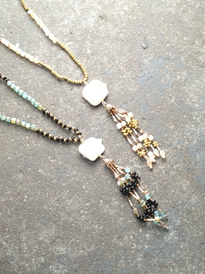Stone Long beaded tassel with opal stone