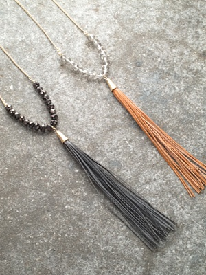 Long Leather tassel and beaded pendant