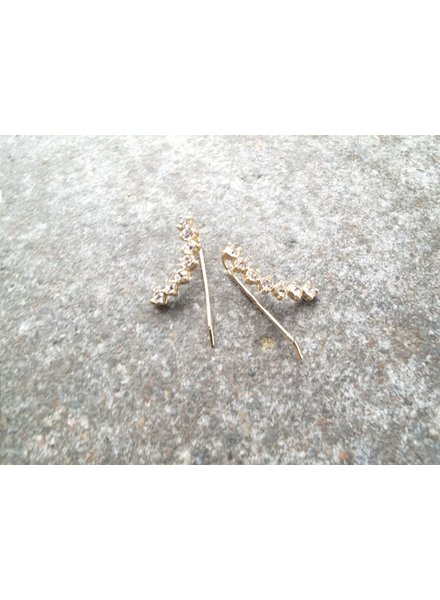 Stud Gold rhinstone ear crawlers