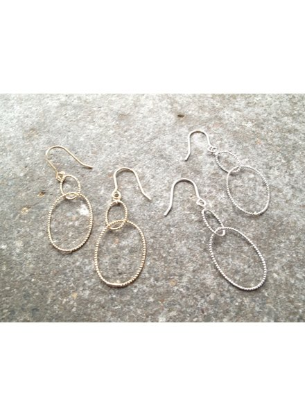 Silver Interlaced sparkle hoops