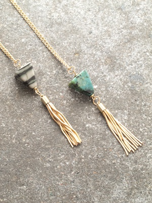 Long Long stone and tassel necklaces