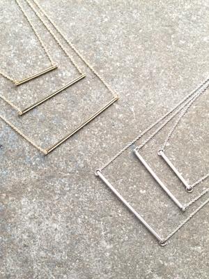 Gold Triple bar necklace