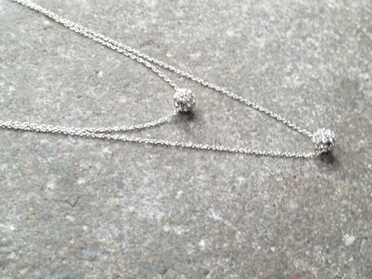 Silver Tiny double layer rhinestone ball