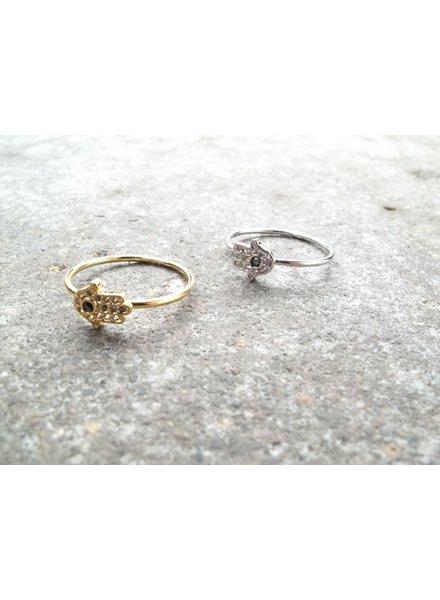 Gold Mini hamsa hand ring