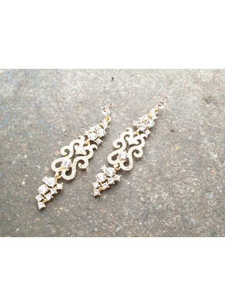 Dressy Gold and rhinestone swirl dangles