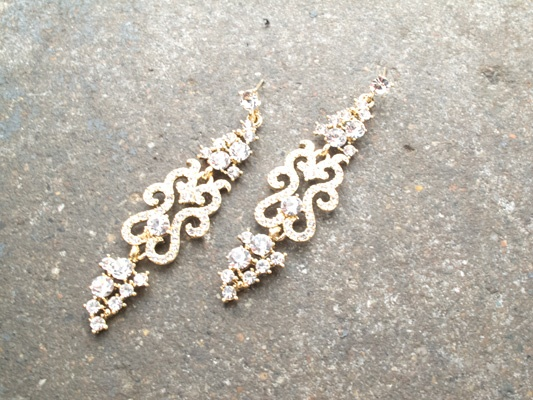 Dressy Gold and rhinestone swirl dangles