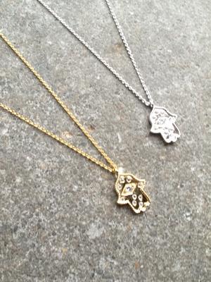Sterling Medium sterling hamsa hand necklace