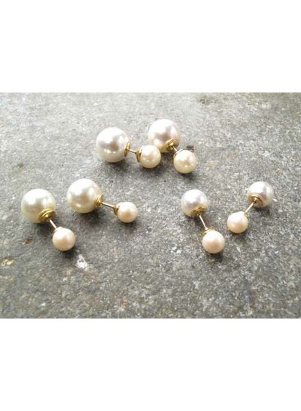 Stud Ivory and gold double pearl