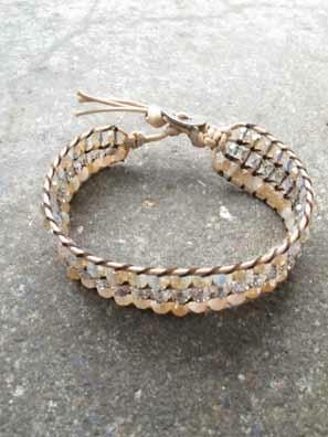 Stone Pastel hemp and stone bracelet
