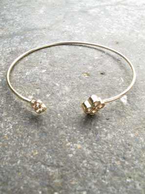 Gold Double clover gold bangle