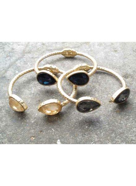 Stone Hammered teardrop stone bracelet