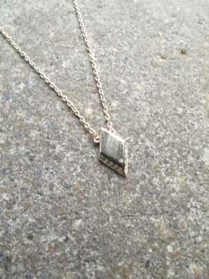 Sterling Gold plated diamond shape pendant