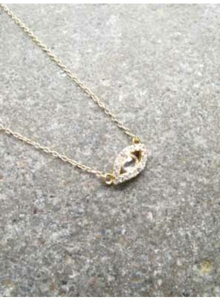 Sterling Gold evil eye necklace