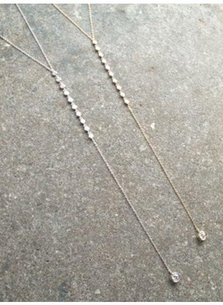 Sterling Sterling or GP rhinestone drop Y necklace