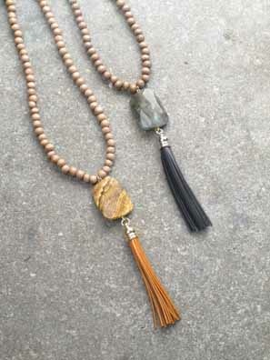 Long Wood beaded pendant