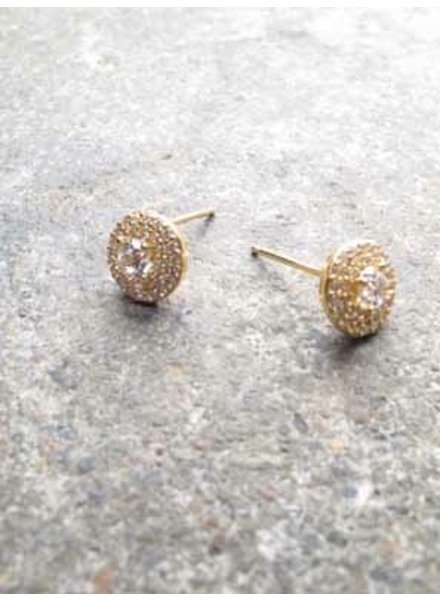 Stud Gold pave and rhinestone studs
