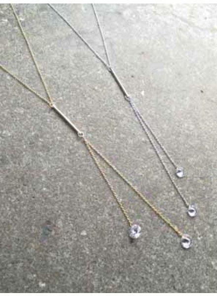 Long Y bar rhinestone drop necklace