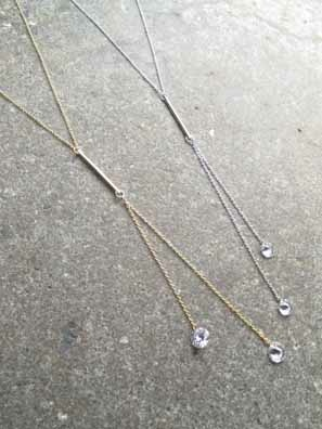 Long Y bar rhinestone drop necklace