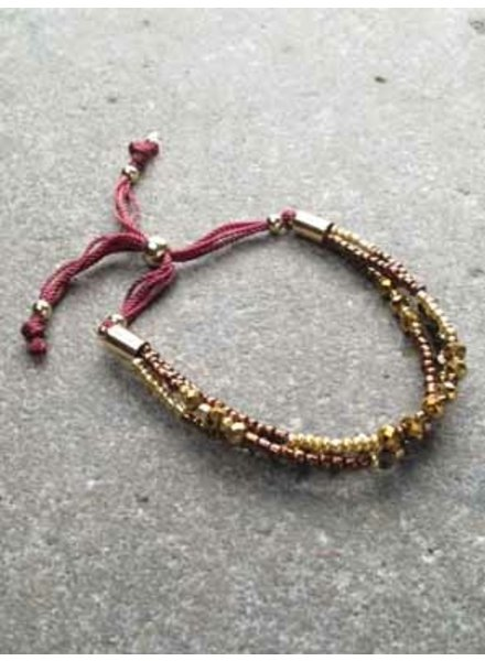 Trend 3 layer bronze bead bracelet