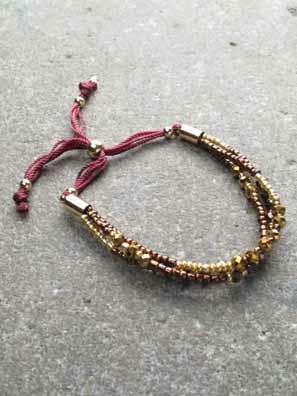 Trend 3 layer bronze bead bracelet