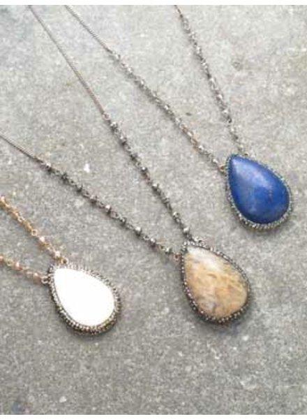 Stone Long teardrop stone necklace