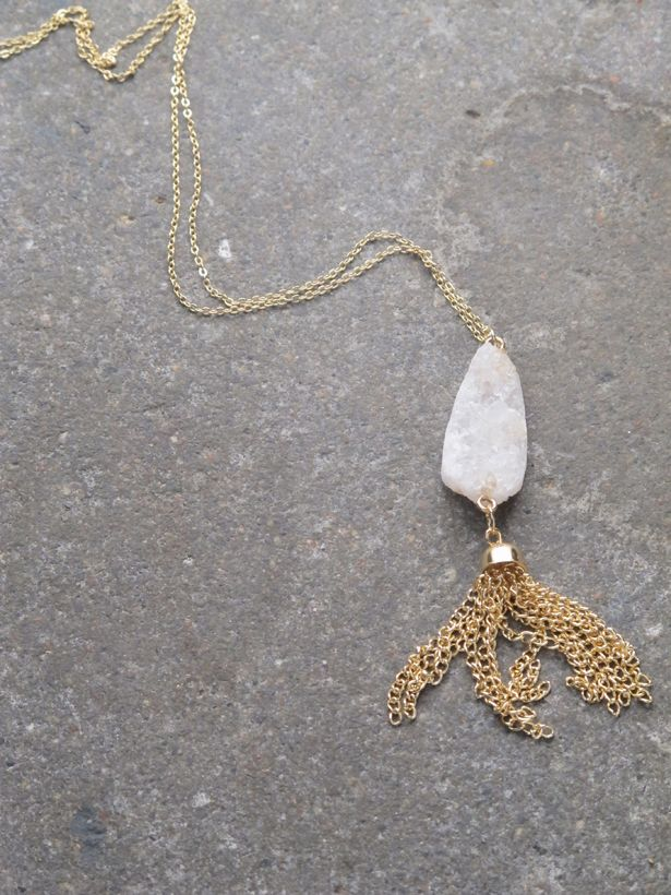 Stone Long raw cut crystal necklace