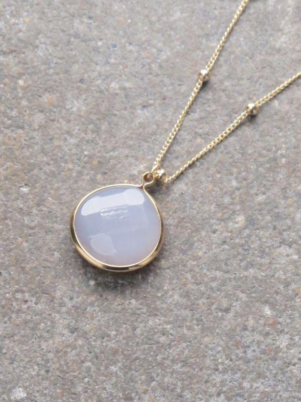 Stone Long stone pendant necklace *4 COLORS