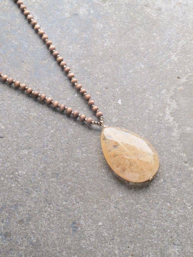 Stone Long beaded stone necklace *3 COLORS