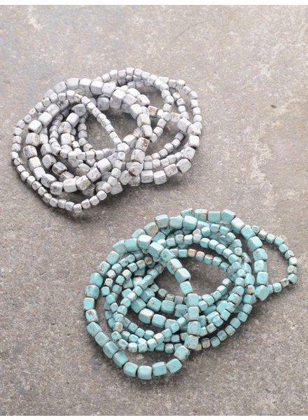 Stone Beaded bracelet set *4 COLORS