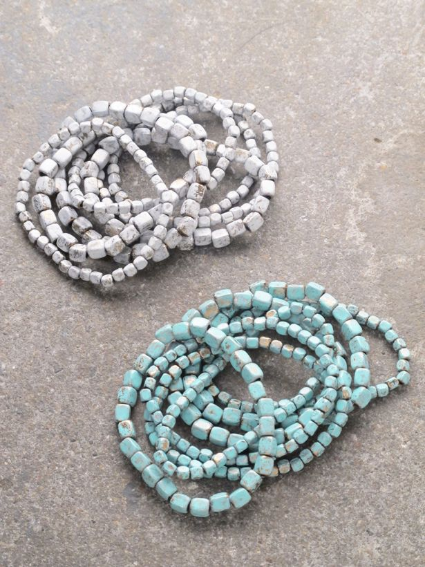 Stone Beaded bracelet set *4 COLORS