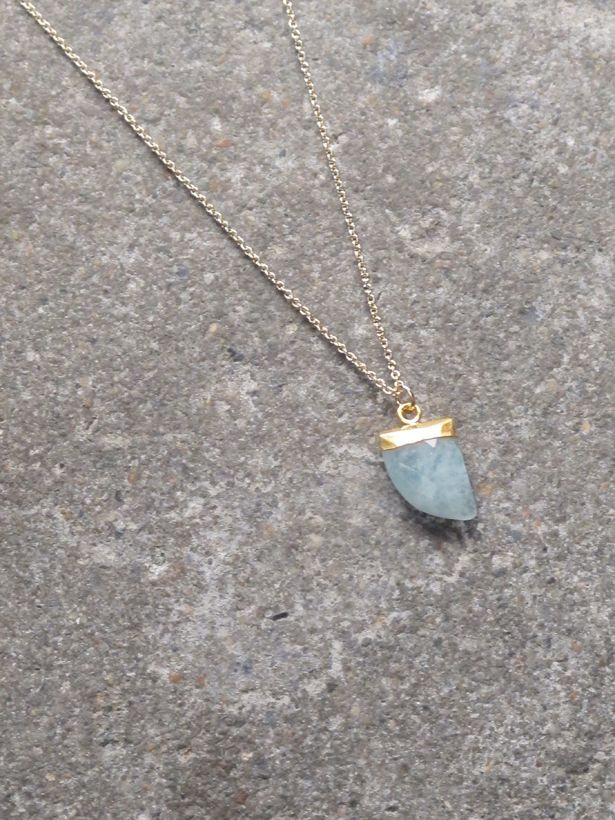 Stone Shark tooth pendant necklace