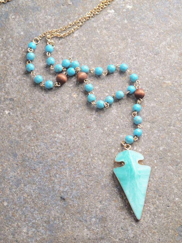 Stone Beaded stone arrow necklace *2 COLORS