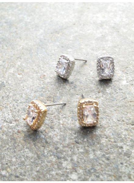 Stud Rectangle rhinestone stud *2 COLORS