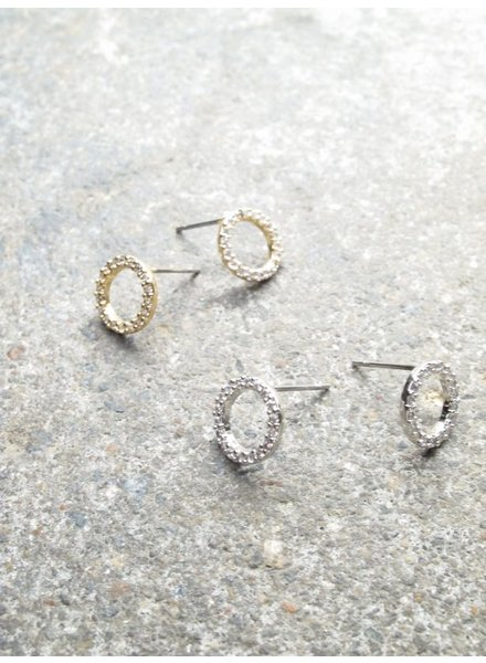 Stud Rhinestone circle earrings *2 COLORS