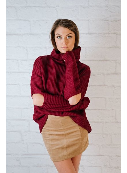 Sweater Burgundy Elbow Slit Knit