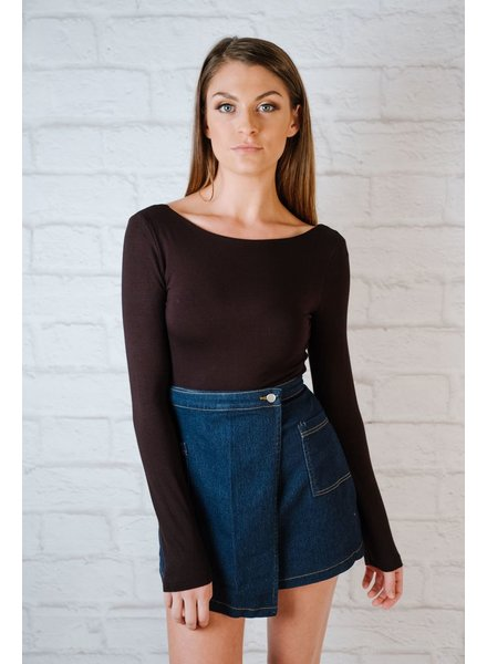 Skirt Denim Side Wrap Mini