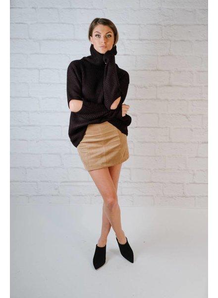 Sweater Black Elbow Slit Knit