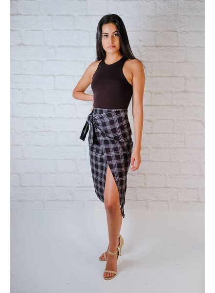 Skirt Plaid Wrap Midi