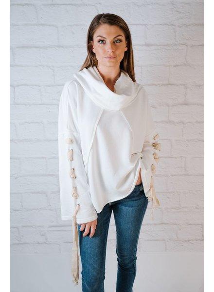 Sweatshirt Laced Arm Hoodie