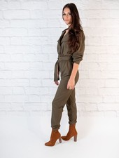 Casual Olive Trench Jumpsuit