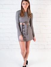 Skirt Houndstooth Button Mini