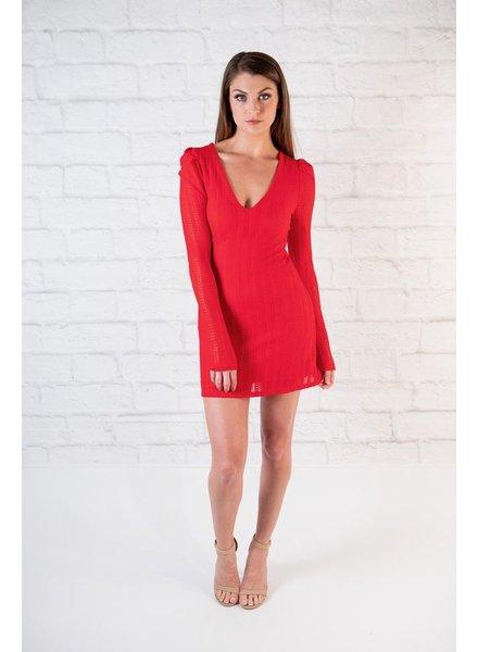 Mini Red Overlayed Dress