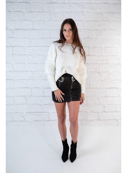 Knit Faux Fur Sleeve Knit